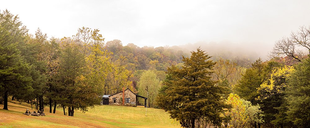 nestled in an Ozark mountain fog